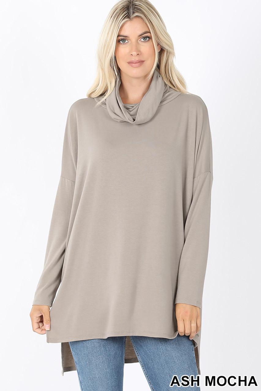 Front image of Ash Mocha Cowl Neck Hi-Low Long Sleeve Plus Size Top