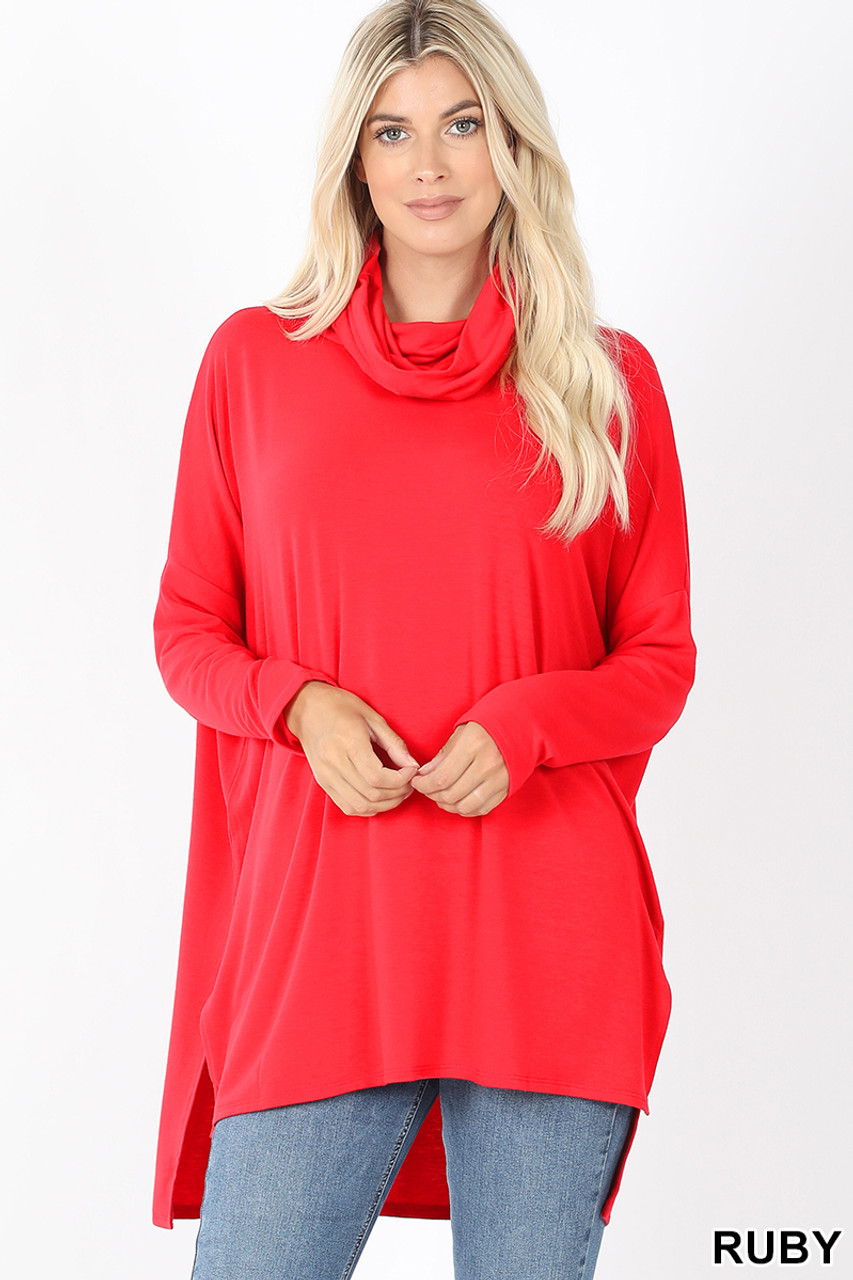 Front image of Ruby Cowl Neck Hi-Low Long Sleeve Plus Size Top