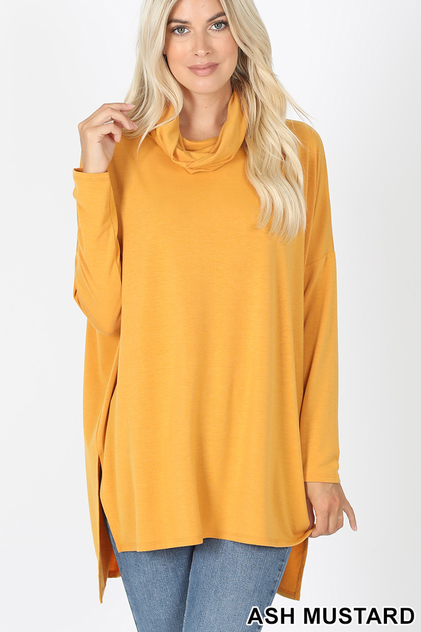 Front image of Ash Mustard Cowl Neck Hi-Low Long Sleeve Plus Size Top
