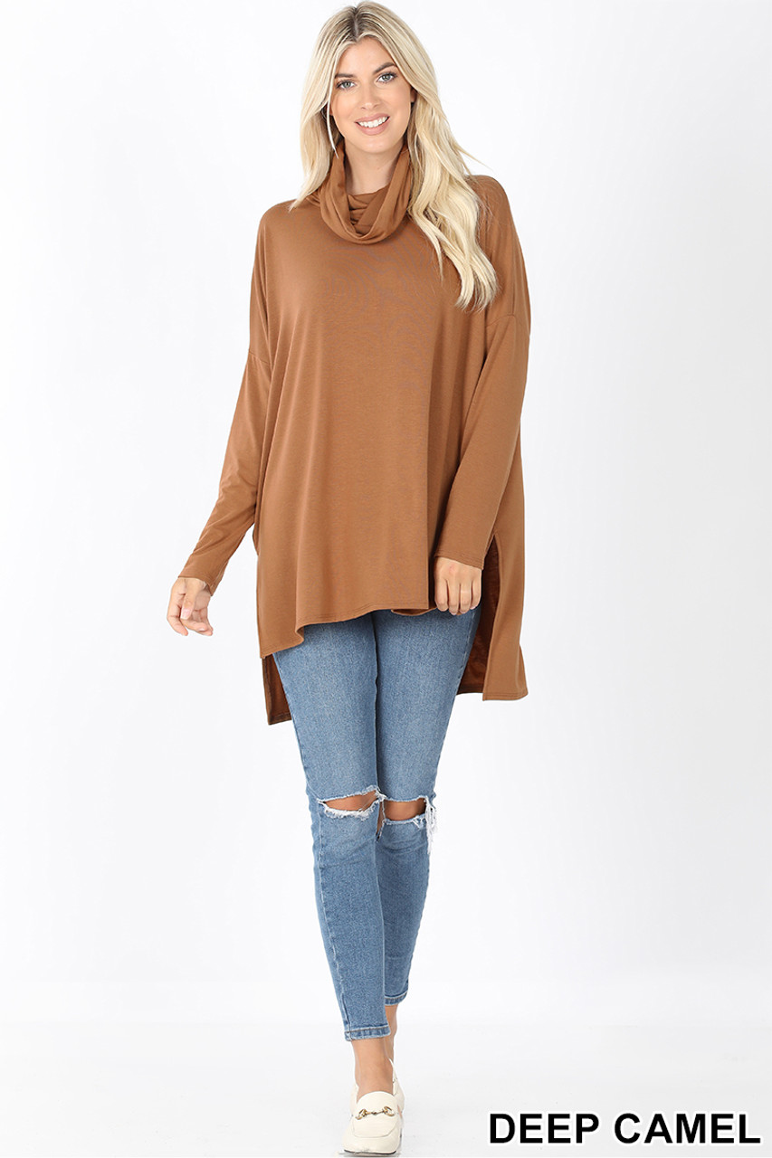 Full body front image of Deep Camel Cowl Neck Hi-Low Long Sleeve Plus Size Top