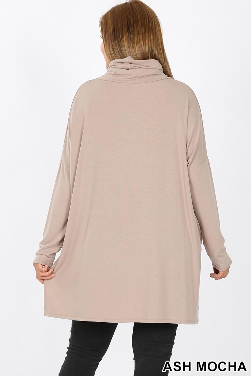 Rear image of Ash Mocha Rayon Cowl Neck Dolman Sleeve Plus Size Top