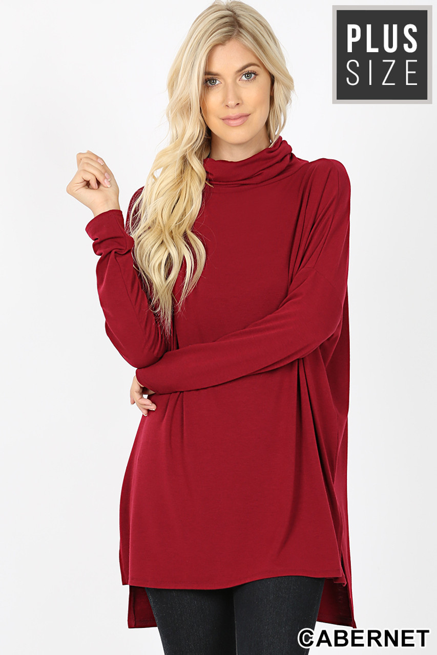 Front image of Cabernet Rayon Cowl Neck Dolman Sleeve Plus Size Top