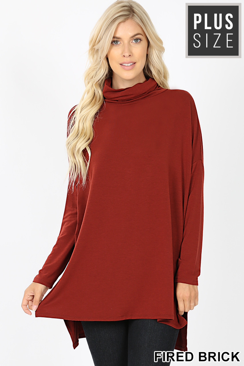 Front image of Fired Brick Rayon Cowl Neck Dolman Sleeve Plus Size Top