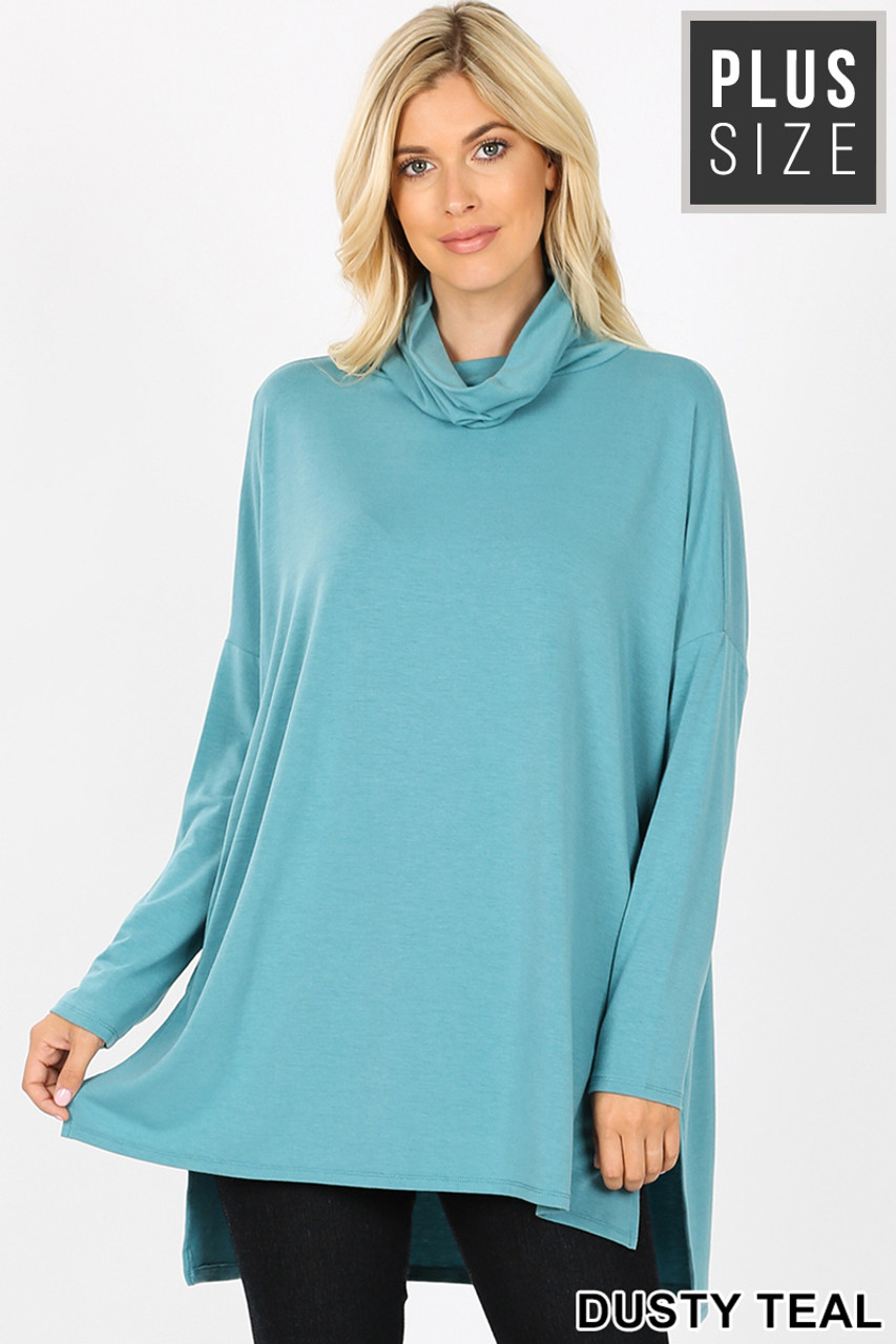 Front image of Dusty Teal Rayon Cowl Neck Dolman Sleeve Plus Size Top