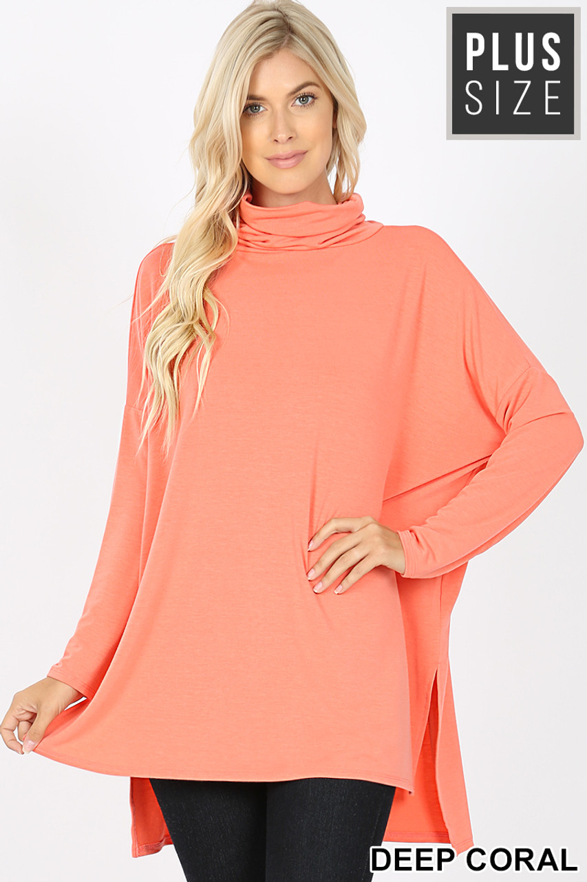 Front image of Deep Coral Rayon Cowl Neck Dolman Sleeve Plus Size Top