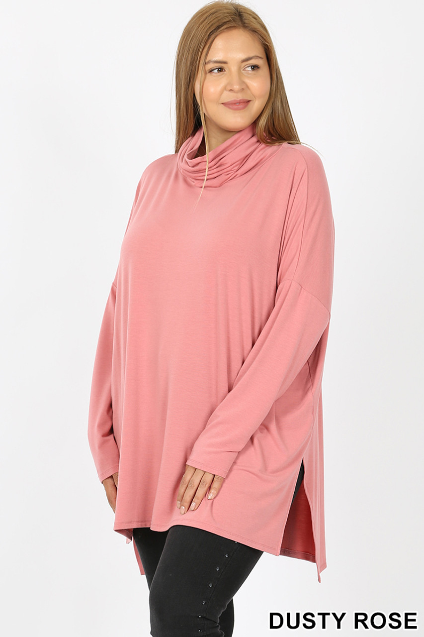 45 degree image of Dusty Rose Rayon Cowl Neck Dolman Sleeve Plus Size Top