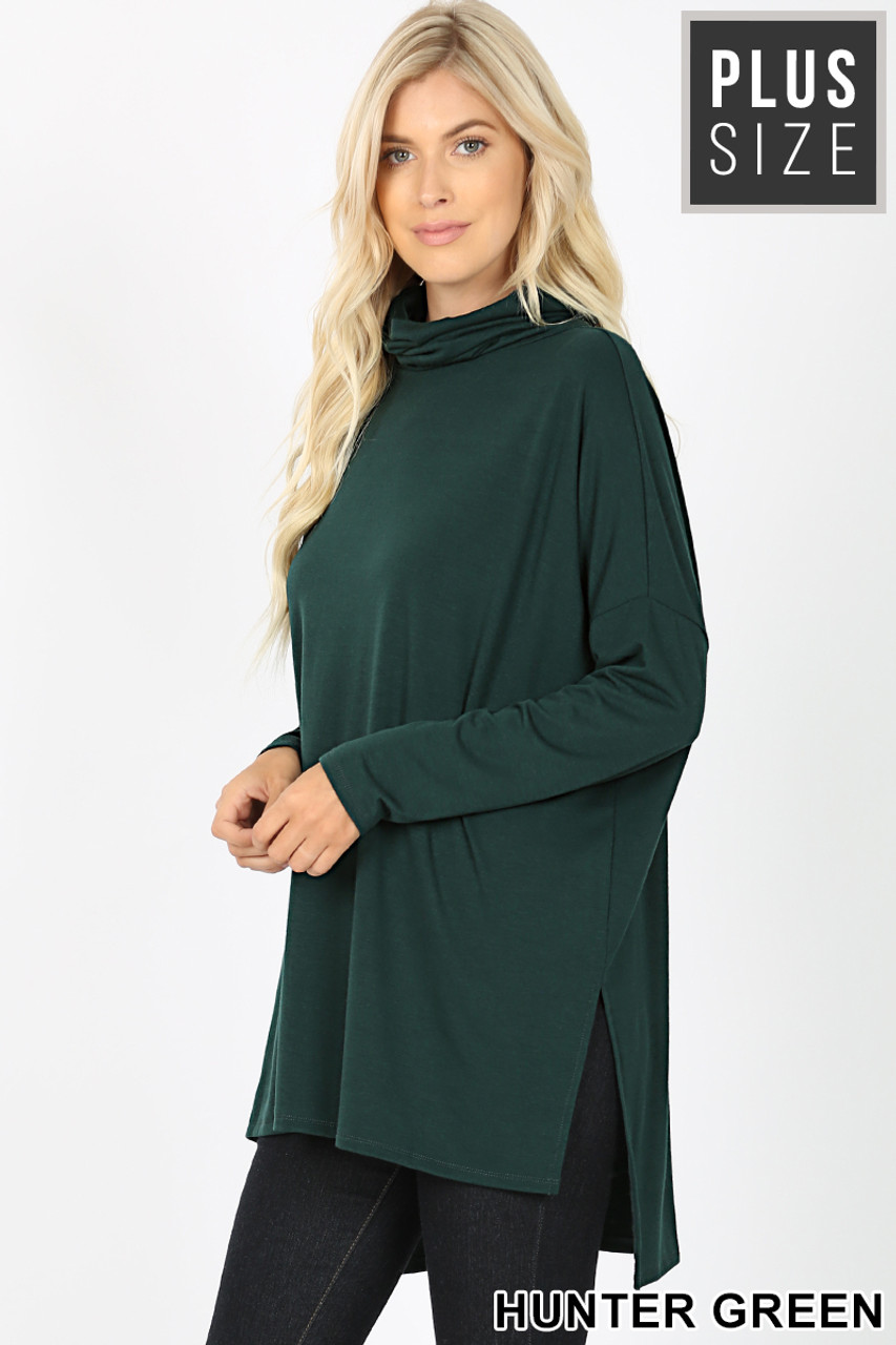45 degree image of Hunter Rayon Cowl Neck Dolman Sleeve Plus Size Top