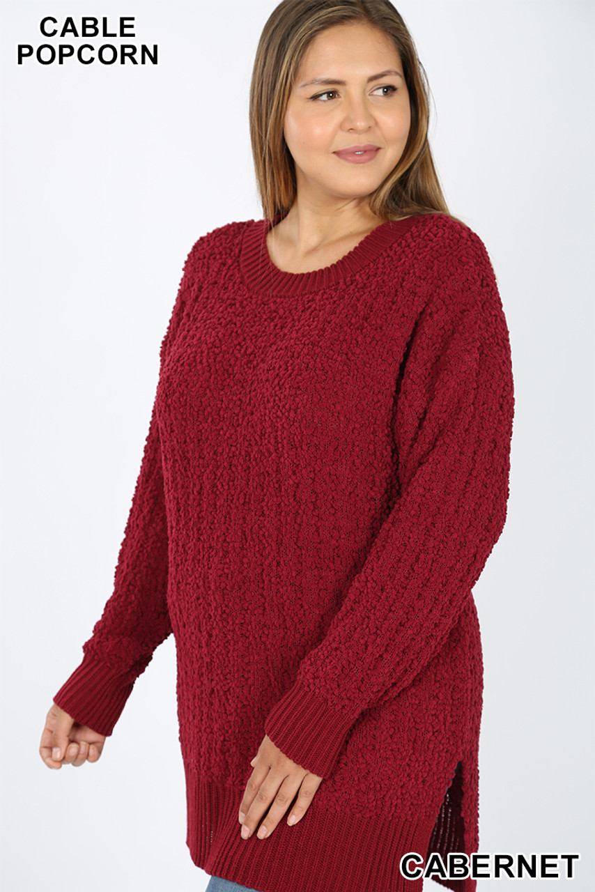 Front image of Cabernet Cable Knit Popcorn Round Neck Hi-Low Plus Size Sweater