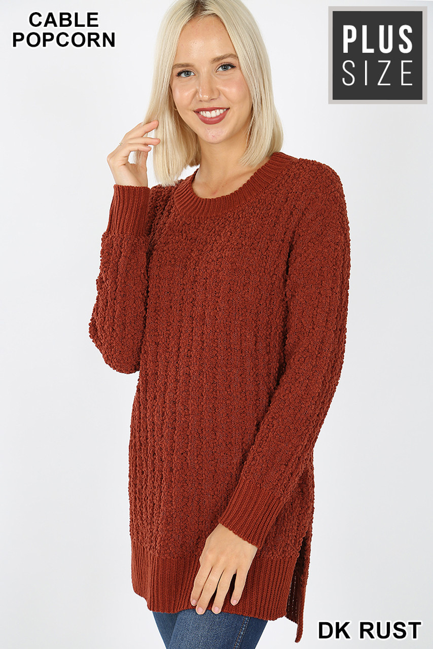 45 degree image of Dark Rust Cable Knit Popcorn Round Neck Hi-Low Plus Size Sweater