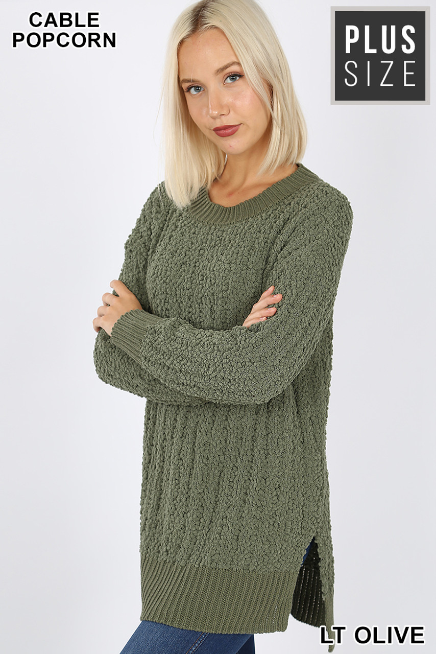 45 degree image of Light Olive Cable Knit Popcorn Round Neck Hi-Low Plus Size Sweater
