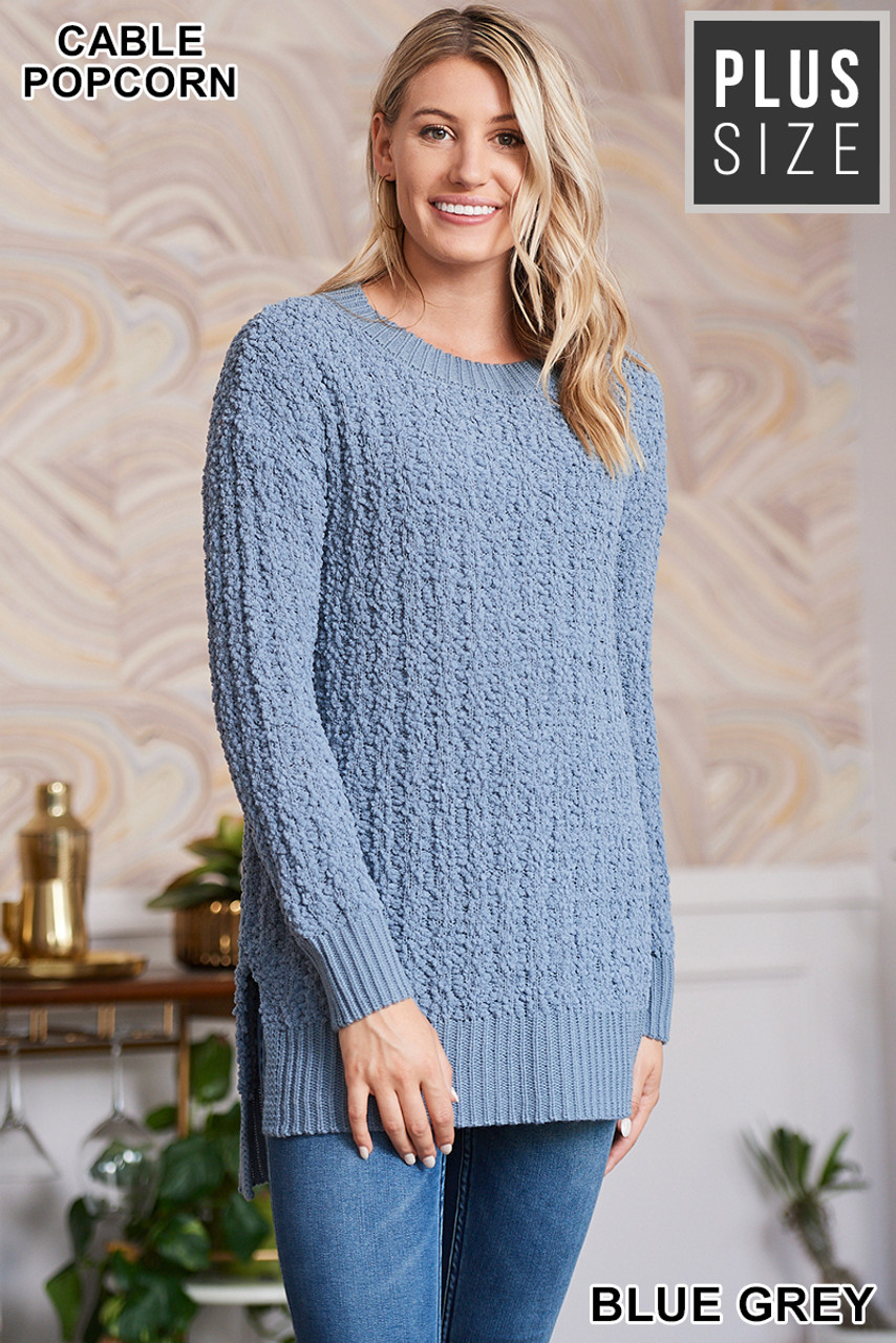 Front image of Blue Grey Cable Knit Popcorn Round Neck Hi-Low Plus Size Sweater