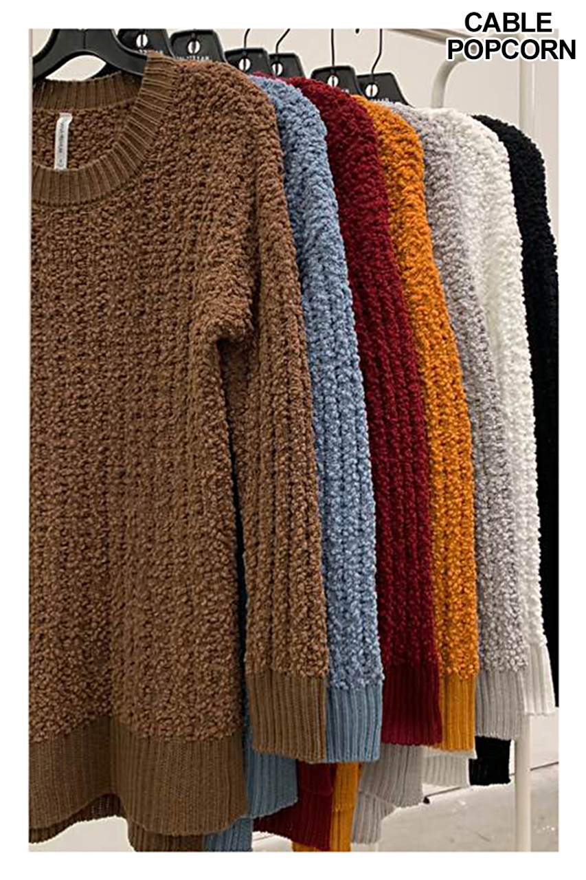 Hanging image of Cable Knit Popcorn Round Neck Hi-Low Plus Size Sweaters