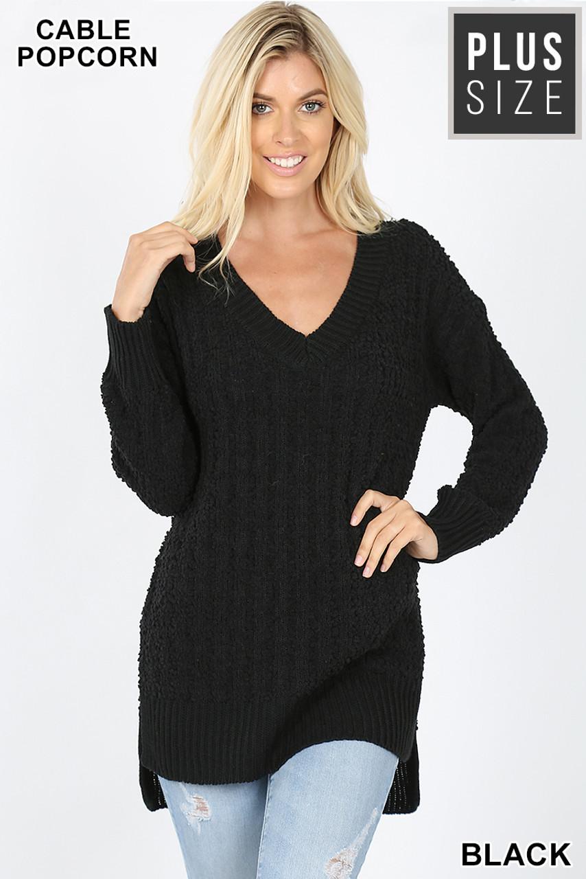 Front image of Black Cable Knit Popcorn V-Neck Hi-Low Plus Size Sweater