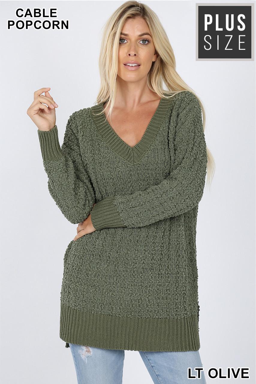 Front image of Light Olive Cable Knit Popcorn V-Neck Hi-Low Plus Size Sweater
