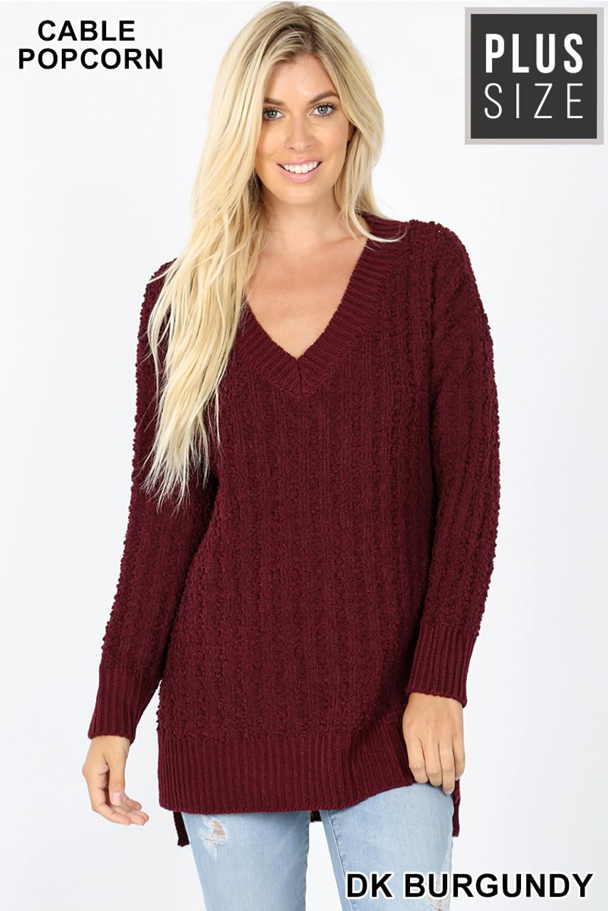 Front image of Dark Burgundy Cable Knit Popcorn V-Neck Hi-Low Plus Size Sweater