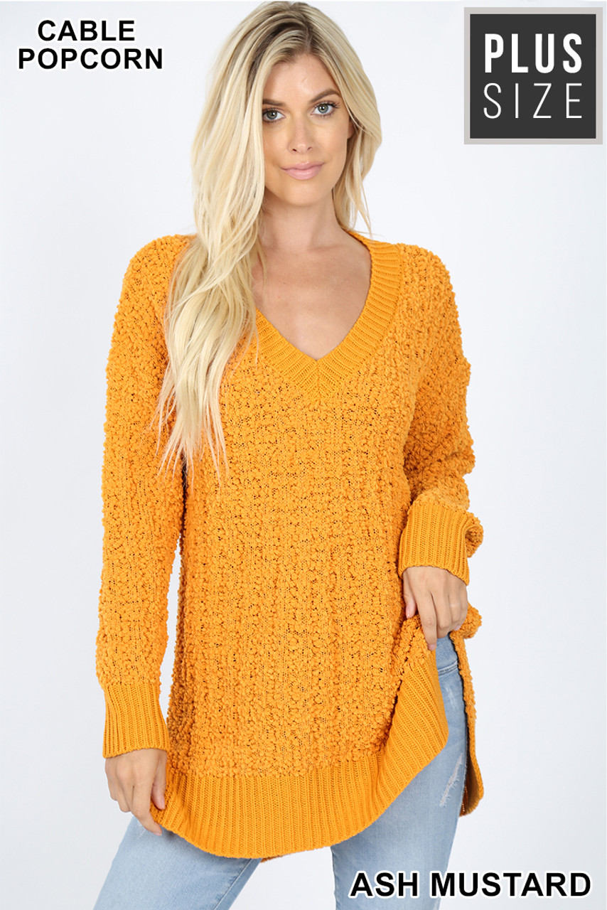 Front image of Ash Mustard Cable Knit Popcorn V-Neck Hi-Low Plus Size Sweater
