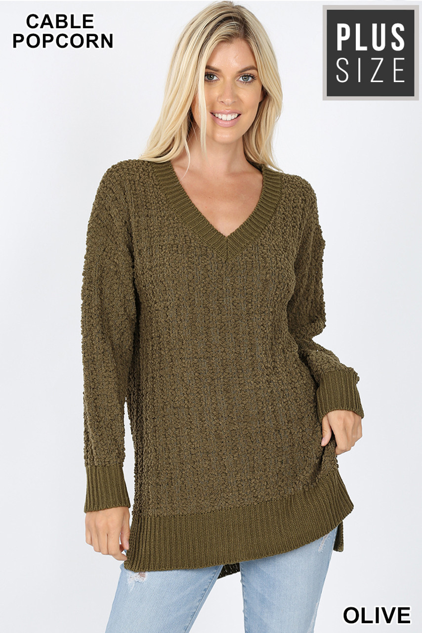 Front image of Olive Cable Knit Popcorn V-Neck Hi-Low Plus Size Sweater