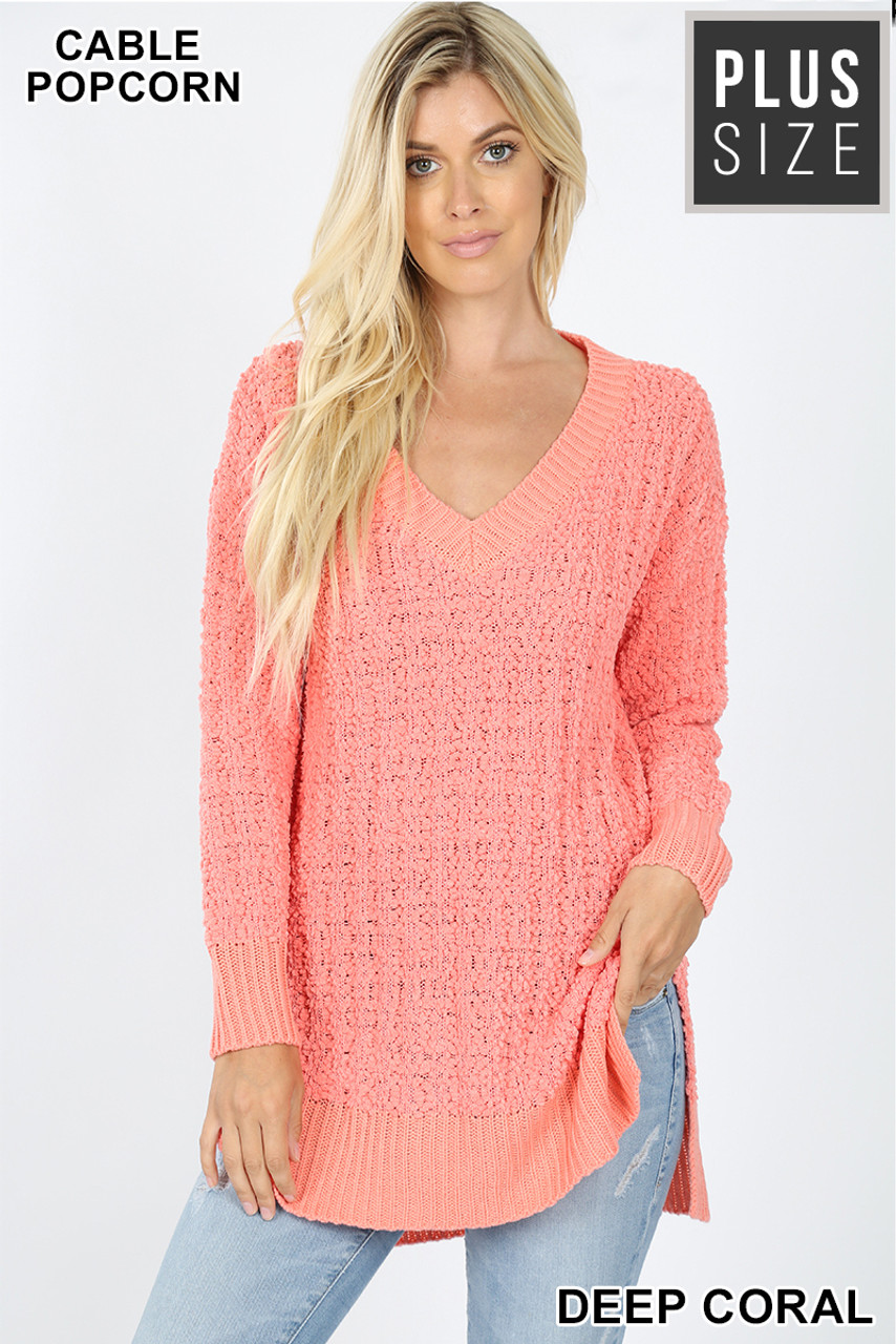 Front image of Deep Coral Cable Knit Popcorn V-Neck Hi-Low Plus Size Sweater
