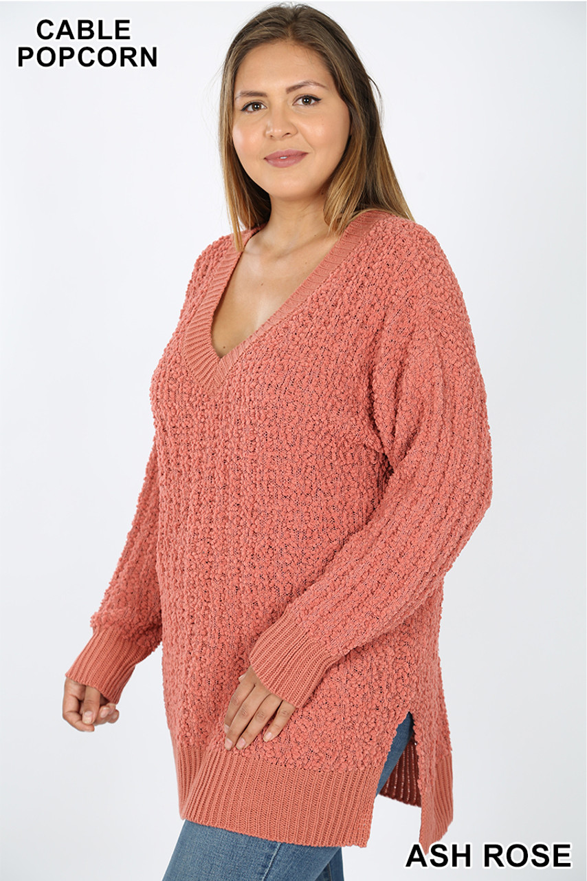 45 degree image of Ash Rose Cable Knit Popcorn V-Neck Hi-Low Plus Size Sweater