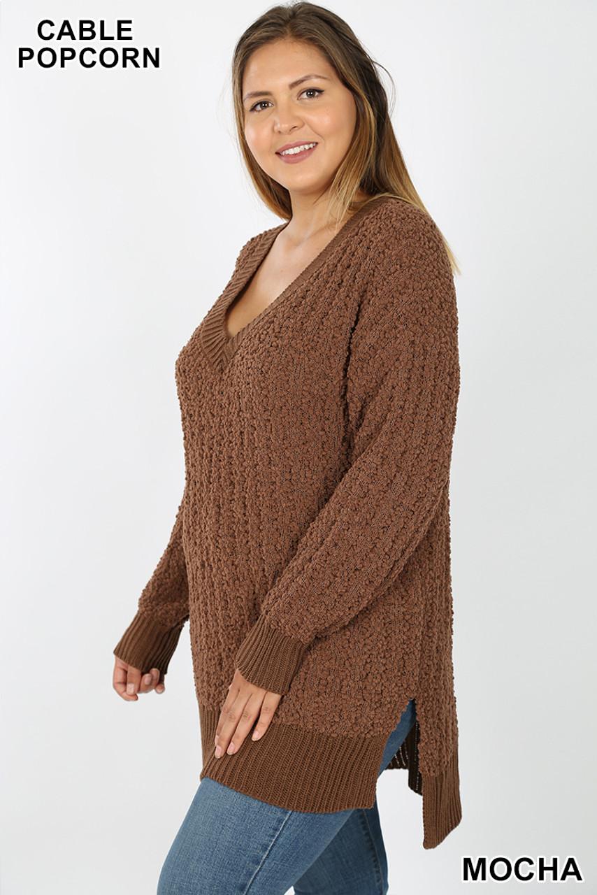 45 degree image of Mocha Cable Knit Popcorn V-Neck Hi-Low Plus Size Sweater