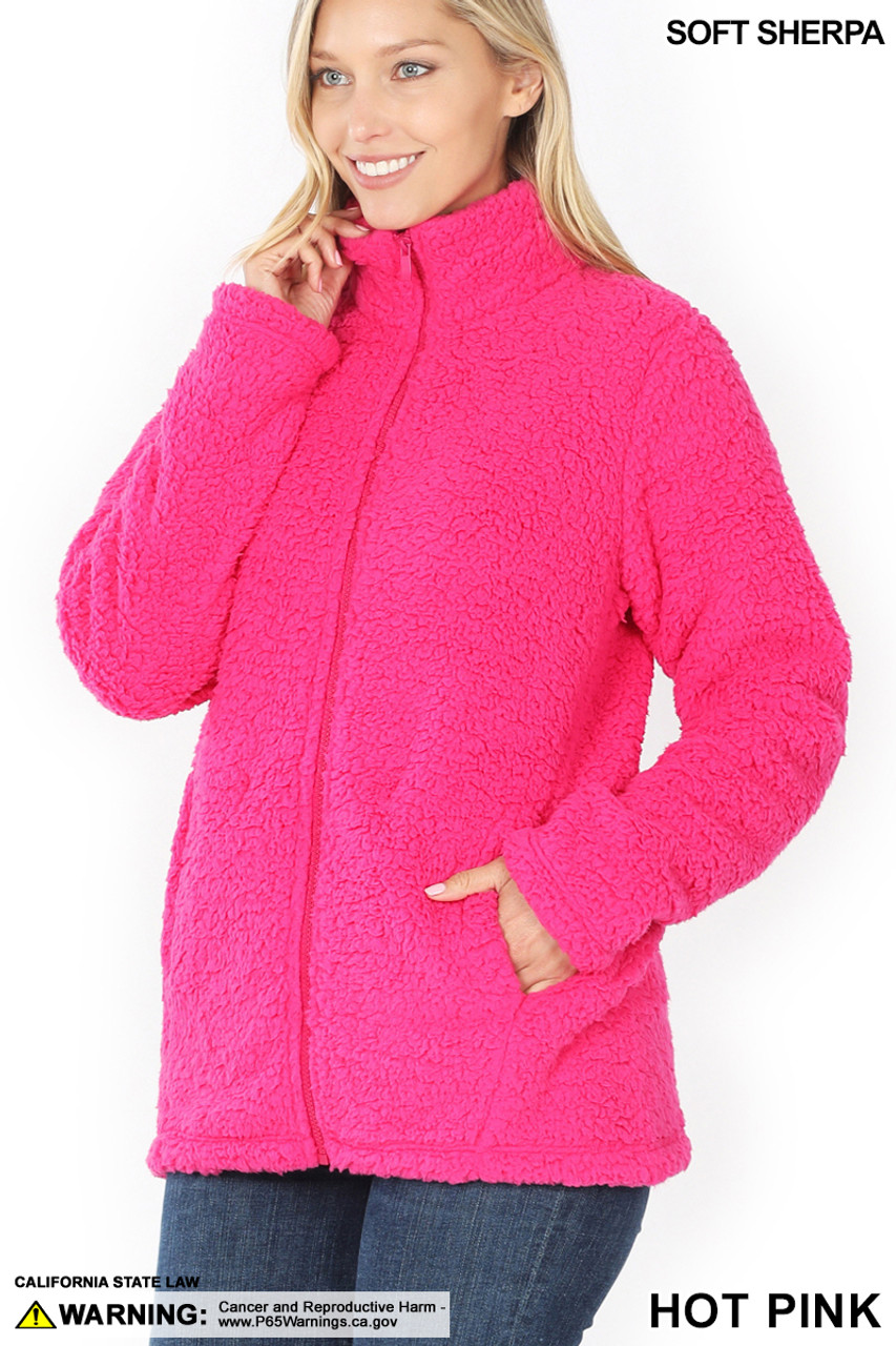 Front of Hot Pink Sherpa Zip Up Jacket with Side Pockets