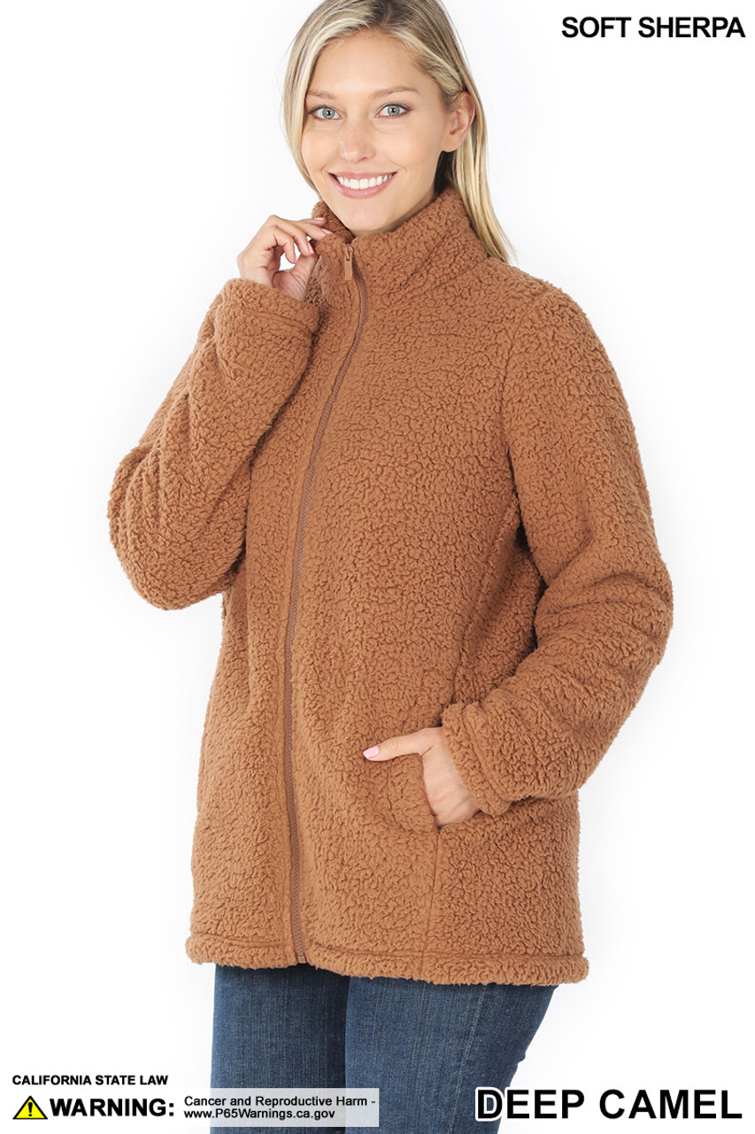 Front of Deep Camel Sherpa Zip Up Jacket with Side Pockets