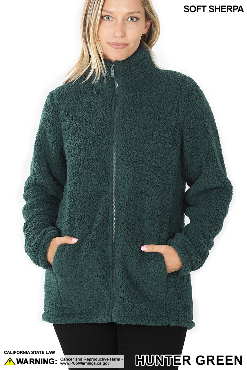 Front of Hunter Green Sherpa Zip Up Jacket with Side Pockets