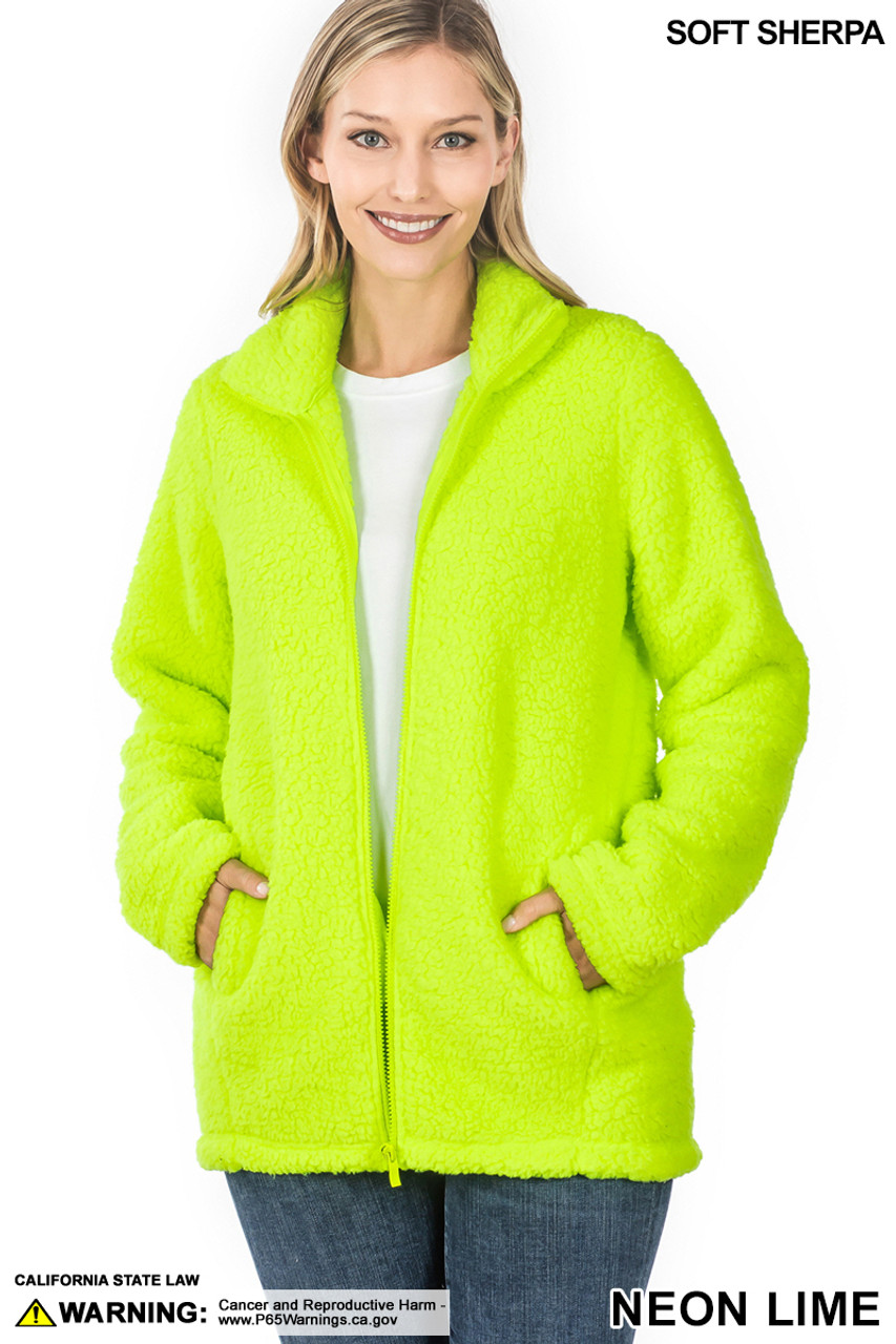 Front Partially Unzipped of Neon Lime Sherpa Zip Up Jacket with Side Pockets