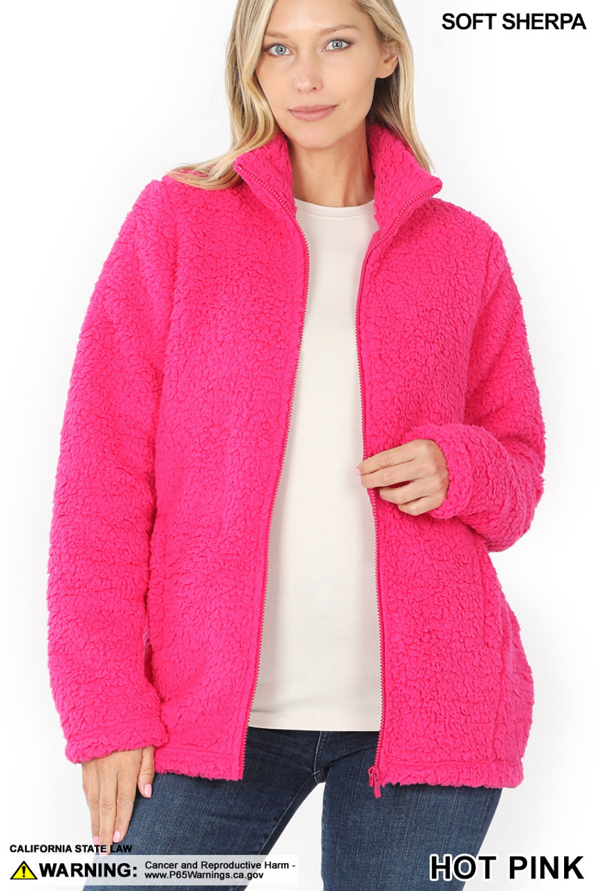 Front Unzipped image of Hot Pink Sherpa Zip Up Jacket with Side Pockets