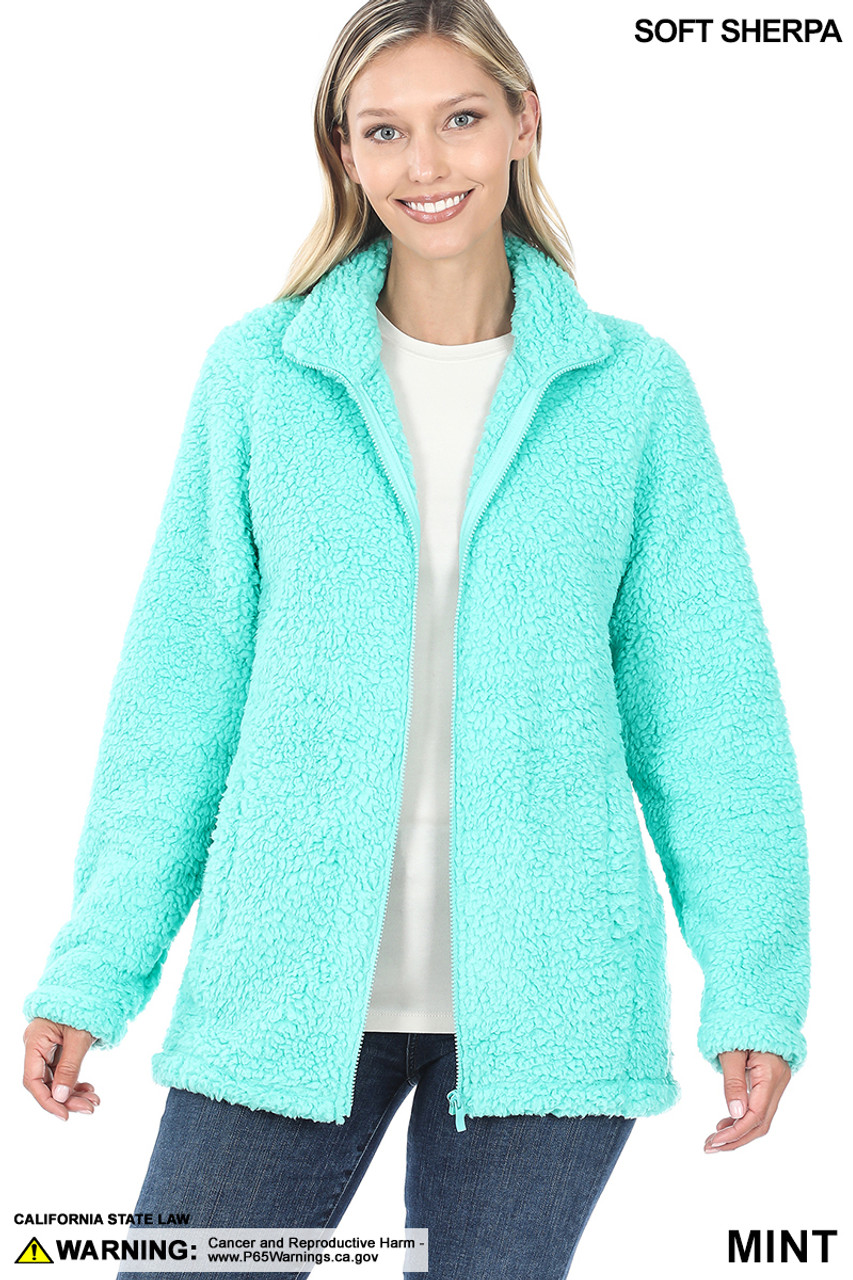 Front Unzipped image of Mint Sherpa Zip Up Jacket with Side Pockets