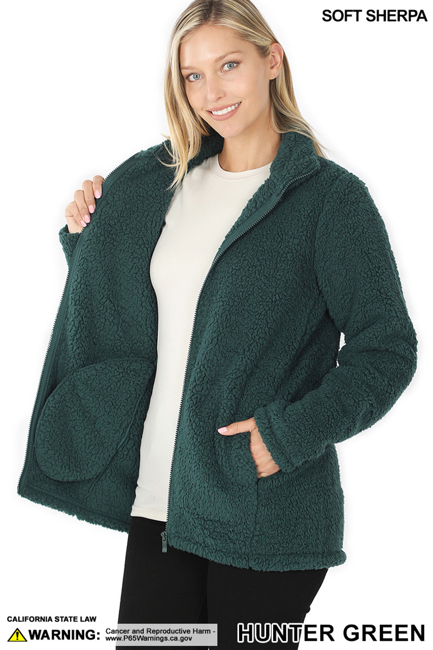 45 degree Unzipped image of Hunter Sherpa Zip Up Jacket with Side Pockets