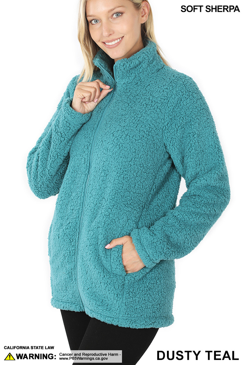 45 degree image of Dusty Teal Sherpa Zip Up Jacket with Side Pockets