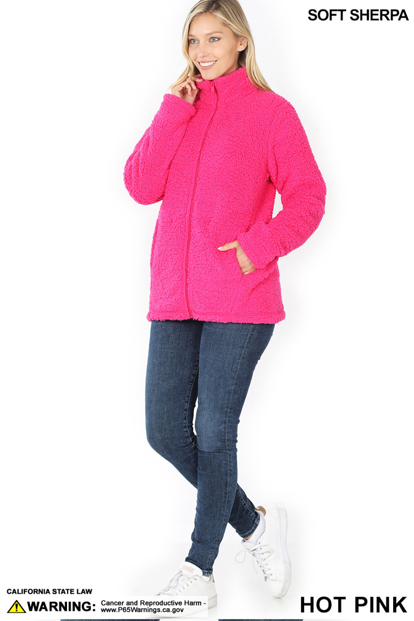 Full body image of Hot Pink Sherpa Zip Up Jacket with Side Pockets