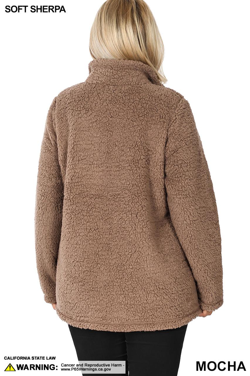 Back side image of Mocha Sherpa Zip Up Plus Size Jacket with Side Pockets