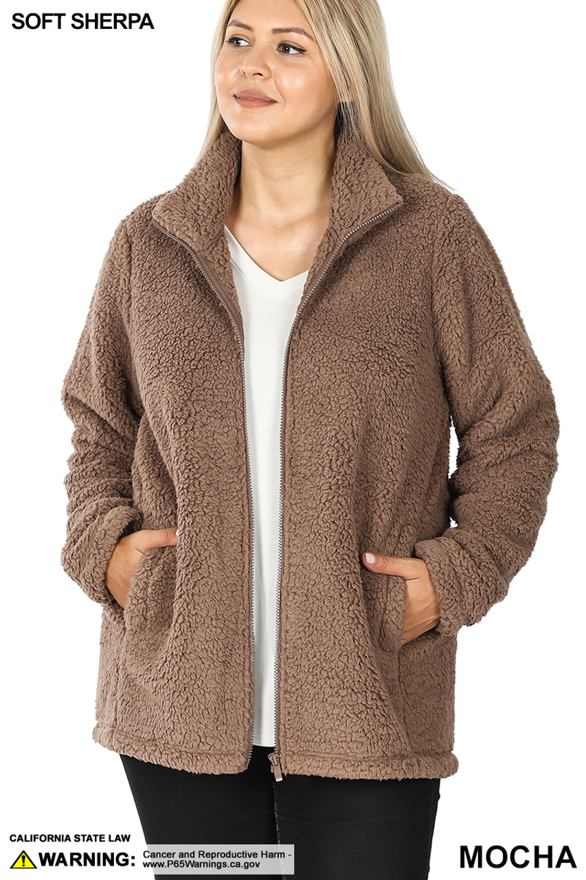 Front unzipped image of Mocha Sherpa Zip Up Plus Size Jacket with Side Pockets