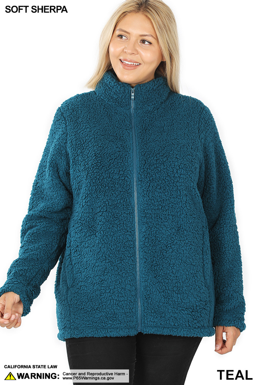 Front image of Teak Sherpa Zip Up Plus Size Jacket with Side Pockets