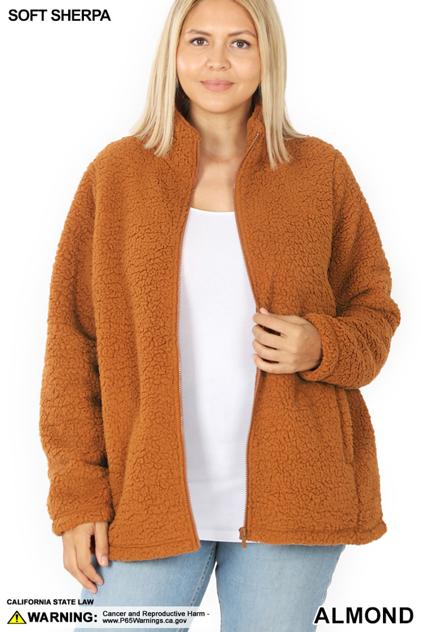 Front unzipped image of Almond Sherpa Zip Up Plus Size Jacket with Side Pockets