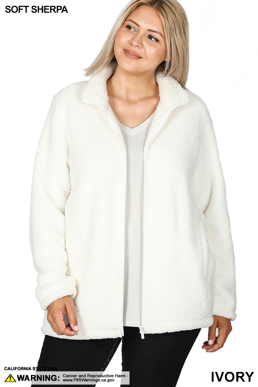 Front unzipped image of Ivory Sherpa Zip Up Plus Size Jacket with Side Pockets