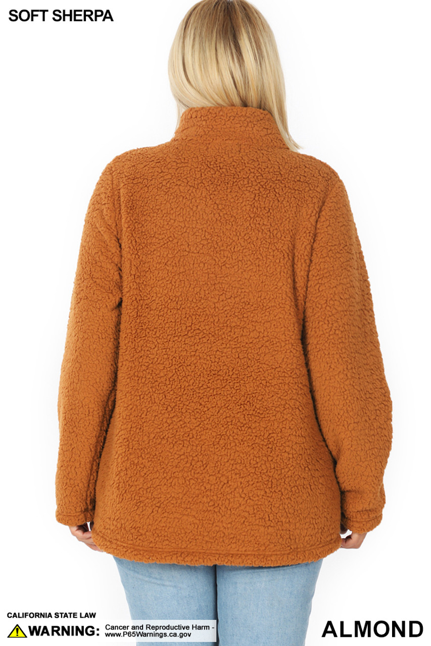 Back side image of Almond Sherpa Zip Up Plus Size Jacket with Side Pockets