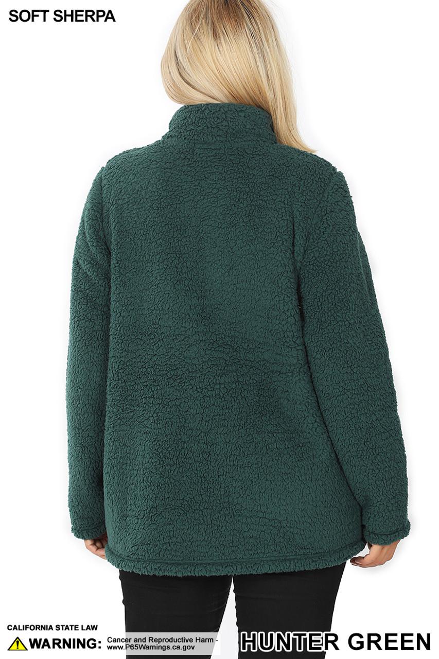 Back side image of Hunter Sherpa Zip Up Plus Size Jacket with Side Pockets