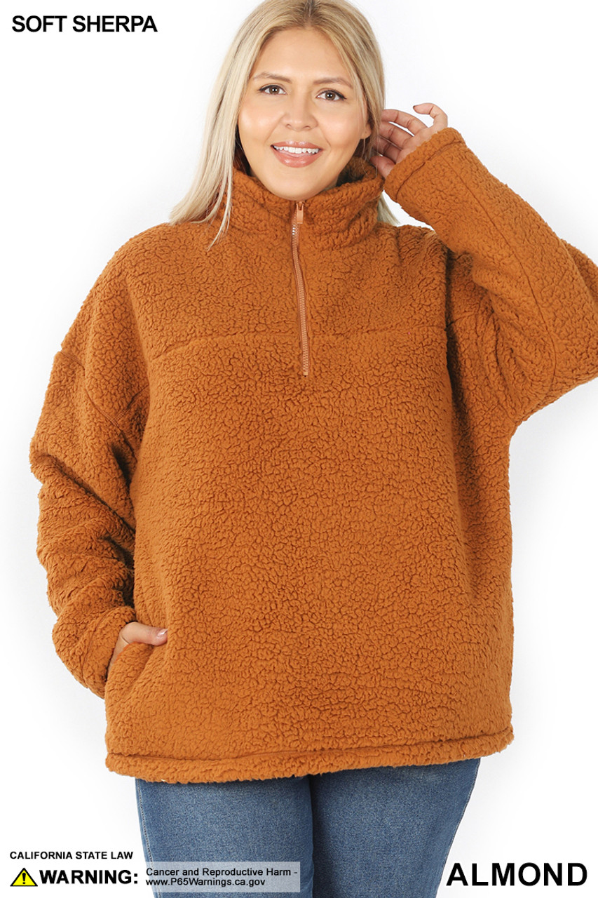 Front of Almond Sherpa Half Zip Plus Size Pullover with Side Pockets