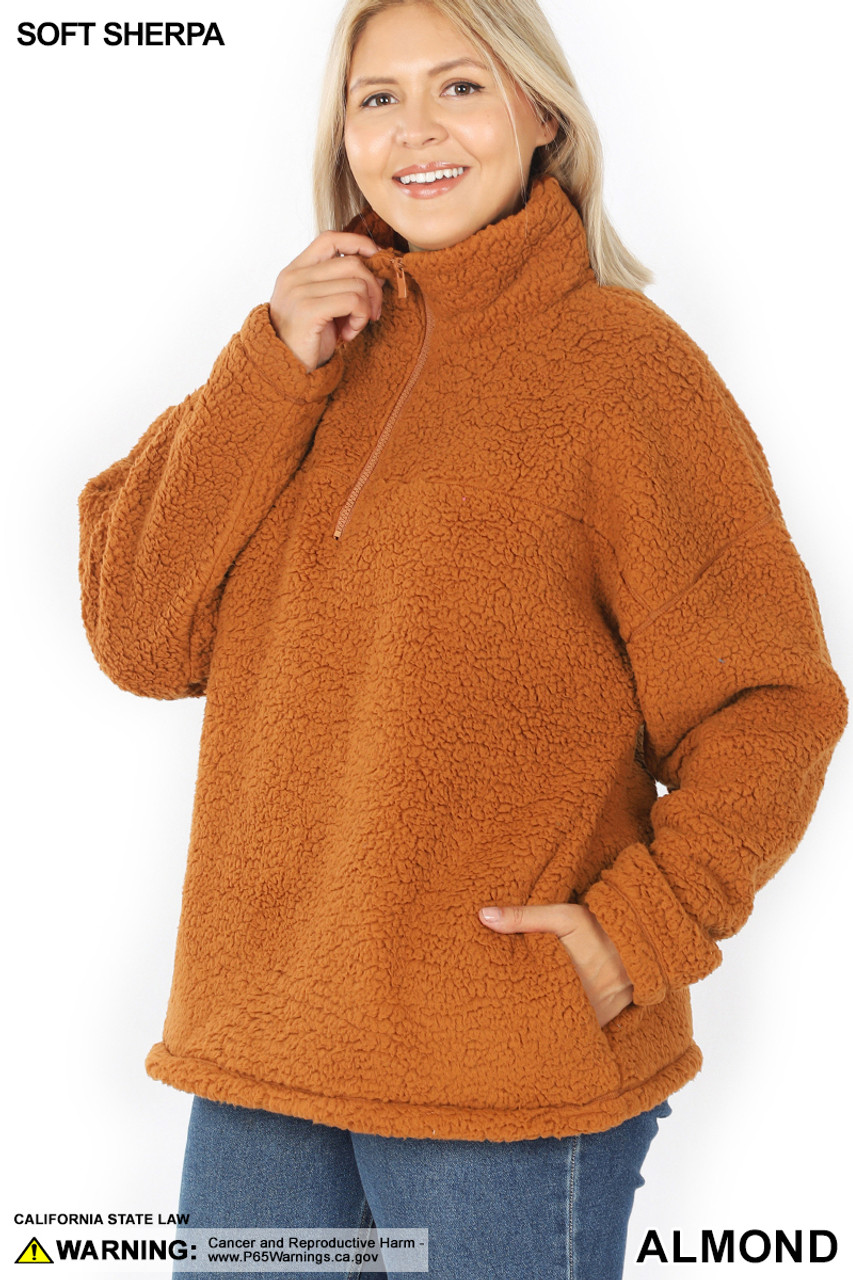 45 degree image of Almond Sherpa Half Zip Plus Size Pullover with Side Pockets
