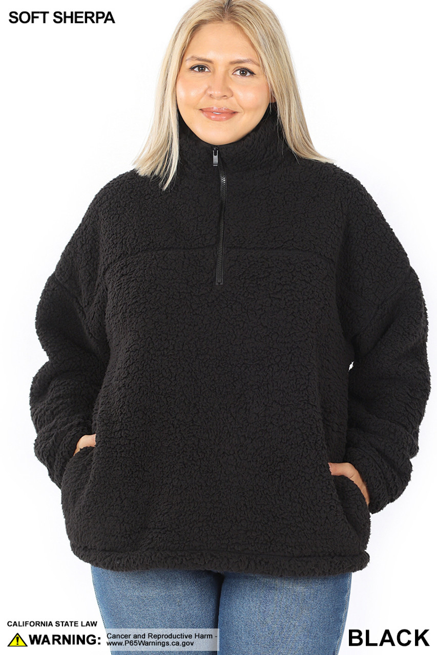 Front of Black Sherpa Half Zip Plus Size Pullover with Side Pockets