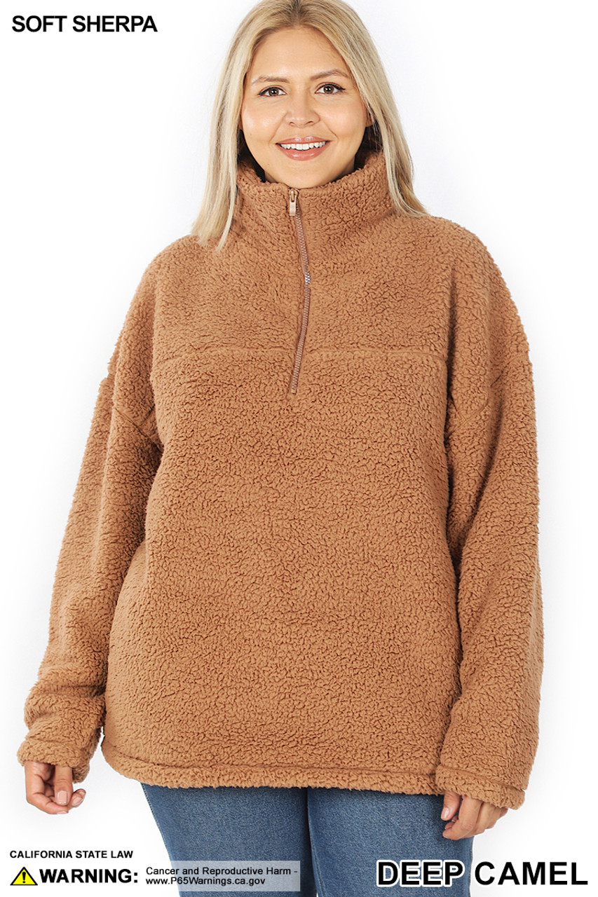 Front of Deep Camel Sherpa Half Zip Plus Size Pullover with Side Pockets