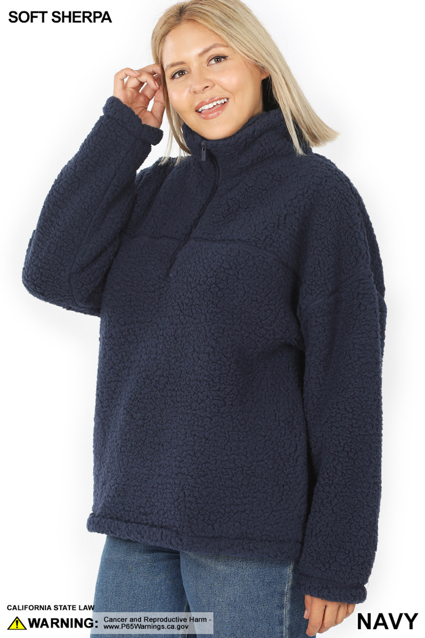 45 degree image of Navy Sherpa Half Zip Plus Size Pullover with Side Pockets
