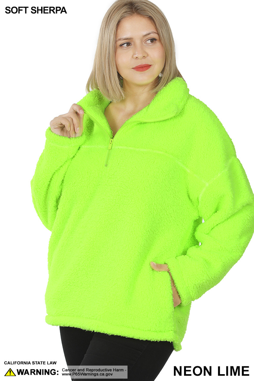Front of Neon Lime Sherpa Half Zip Plus Size Pullover with Side Pockets