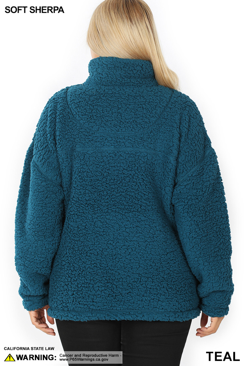 Back side image of Teal Sherpa Half Zip Plus Size Pullover with Side Pockets