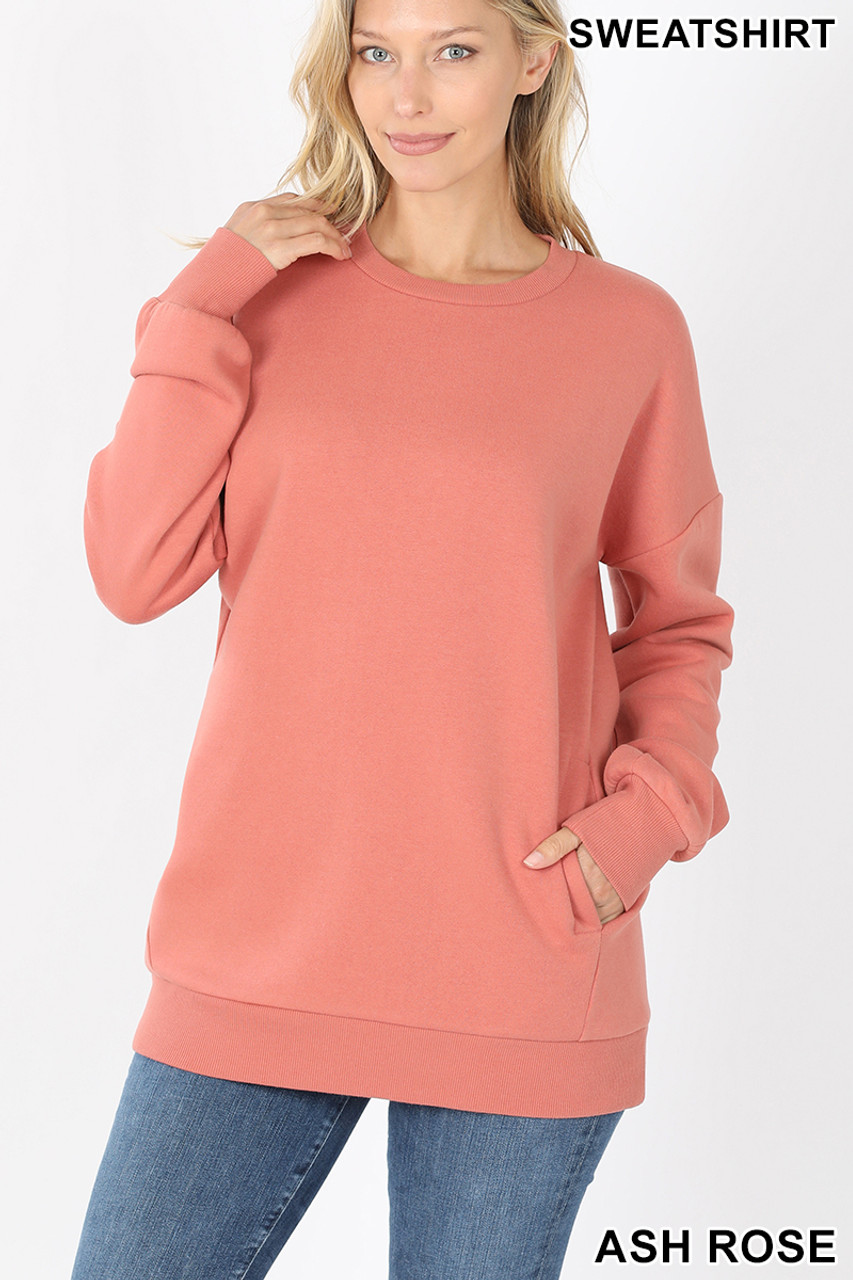 Front image of Ash Rose Round Crew Neck Sweatshirt with Side Pockets