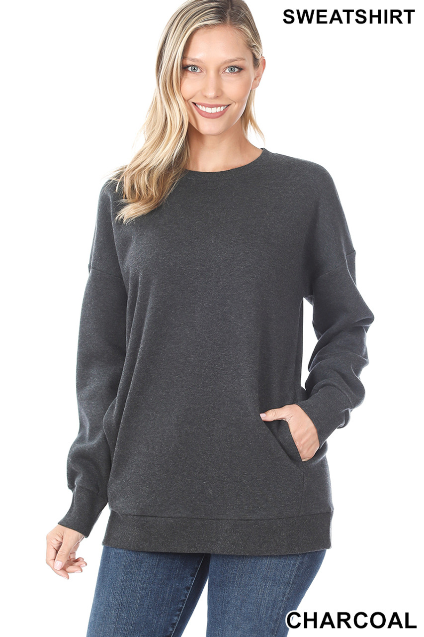 Front image of Charcoal Round Crew Neck Sweatshirt with Side Pockets