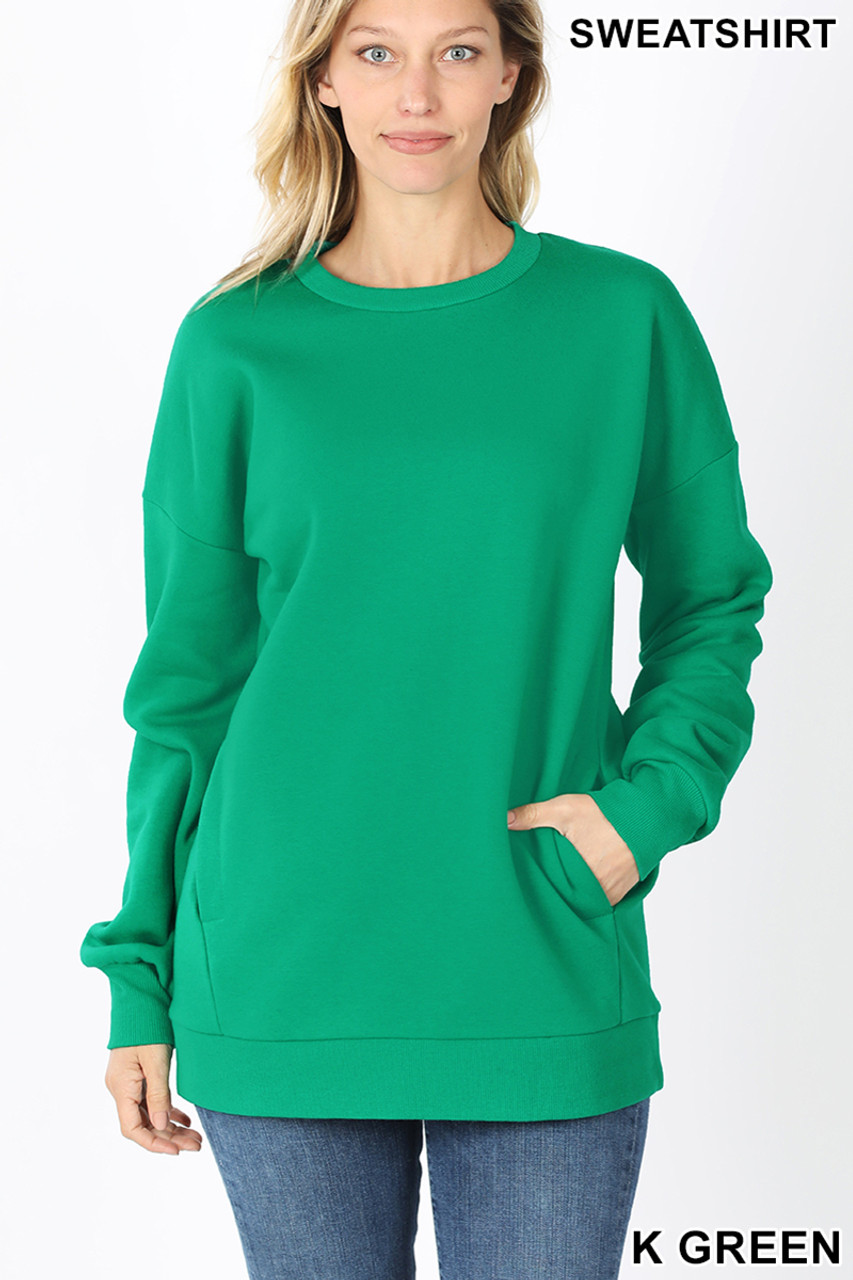 Front image of Kelly Green Round Crew Neck Sweatshirt with Side Pockets